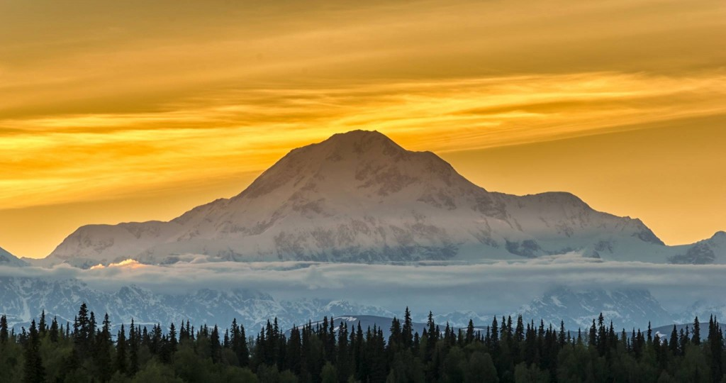 Incredible View Of Mt McKinley At Sunset. photo By Jeff Ehlers.