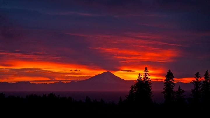 July 5th, 2014 Sunset. Mt Redoubt. Photo By Rod Koop